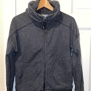 Lululemon charcoal gray slouchy collar zip size 8